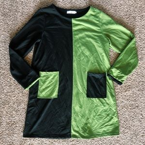 Dresses & Skirts - Black & Green Color Block Dress